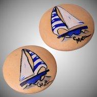 C Matte Sail Boat Wooden Earrings
