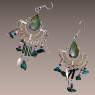 Jade and Glass Pierced Dangle Earrings