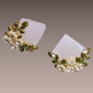 Lucite and Faux Pearl Earrings