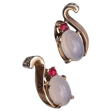Trifari Patent 143989 Moonstone Earrings