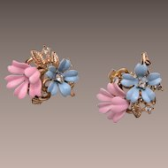 Trifari Enameled Pink and Blue Earrings