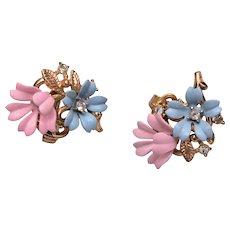 Trifari Enameled Pink and Blue Earrings