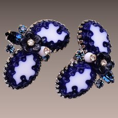 Blue Art Glass Earrings with Glass Flower