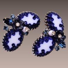 Blue Art Glass Earrings with Glass Flower