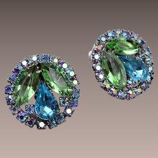 Weiss Green and Blue Rhinestone Earrings