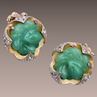 Green Glass and Rhinestone Earrings