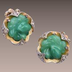 Green Glass and Rhinestone Earrings
