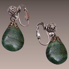 Jade Tear Drop and Filigree Earrings