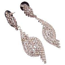Dangling Pierced Rhinestone Earrings