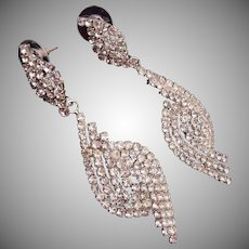 Dangling Pierced Rhinestone Earrings