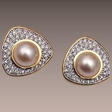 Swarovski Pearl and Rhinestone Earrings