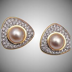 Swarovski Pearl and Rhinestone Earrings