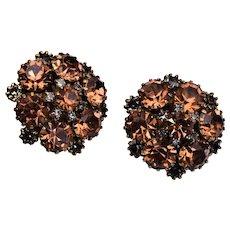 Kramer Brown Rhinestone Earrings