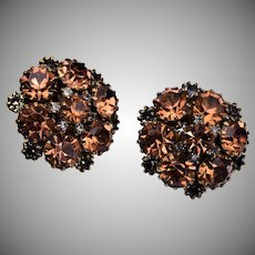 Kramer Brown Rhinestone Earrings