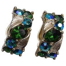 Lisner Green Rhinestone Earrings