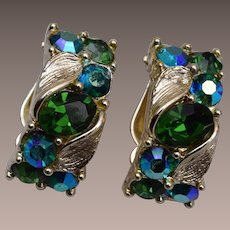 Lisner Green Rhinestone Earrings