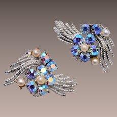 Coro Faux Pearl and AB Rhinestone Earrings