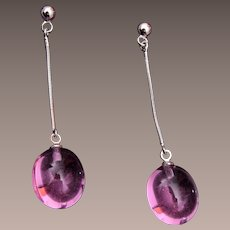 Pink Glass Dangling Pierced Earrings
