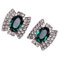 Green and Clear Prong Set Rhinestone Earrings
