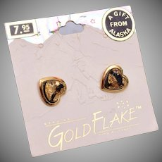 Gold Flake from Alaska Pierced Earrings