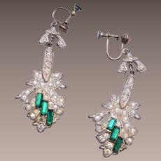 Pot Metal Art Deco Dangling Green Rhinestone Earrings