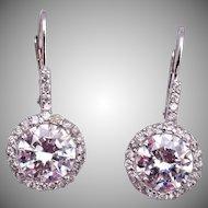 Pierced CZ Sterling Earrings