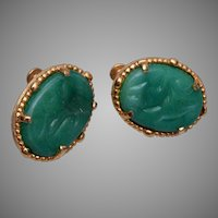 Vendome Green Glass Earrings