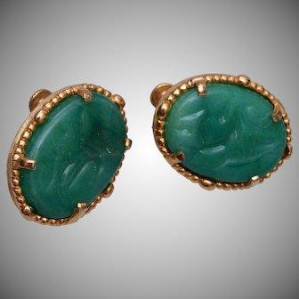 Vendome Green Glass Earrings