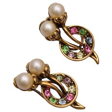 Colorful Rhinestone and Faux Pearl Cherry Earrings