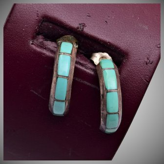 Sterling and Turquoise Pierced Earrings