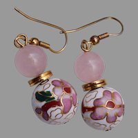 White Cloisonne' Pierced Earrings with Quartz Top