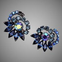 Claudette Blue Rhinestone Earrings