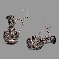 Filigree Pitcher Pierced Earrings or Charms
