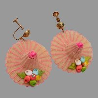 Woven Wide Brim Hat With Shell Decoration Earrings