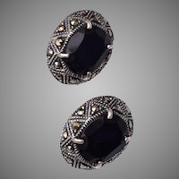 Sterling, Onyx and Marcasite Pierced Earrings