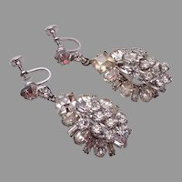 D&E Prong Set Rhinestone and Wired Over Dangling Earrings