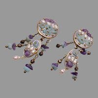 Fresh Water Pearl, Amethyst and Chrysoprase Earrings