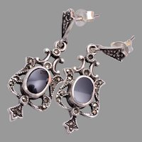 Sterling Pierced Dangling Earrings with Marcasites and Onyx