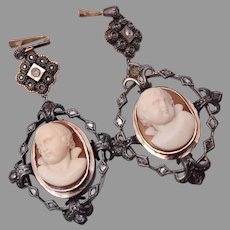 PIerced Georgian High Relief Cameo with Mine Set Diamond Earrings