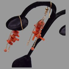 Branch Coral and Pearl Pierced Earrings