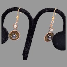 Converted Pierced Earrings with Black Pearls