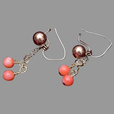 Gold Filled Earrings with Dangling Coral Beads