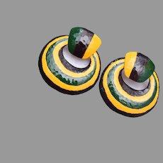Pierced Enameled and Hammered Metal Earrings