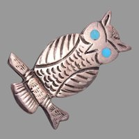 Sterling Figural Owl Brooch with Turquoise Eyes