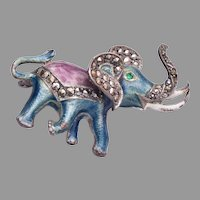 Sterling Germany Elephant with Marcasites Brooch