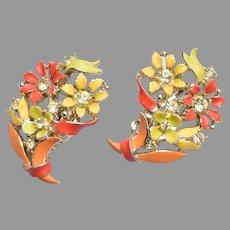 Lisner Enameled Flower Earrings