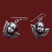 Beautiful Puffy Cherub Sterling Pierced Earrings