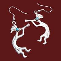 Kokopelli and Turquoise Pierced Earrings