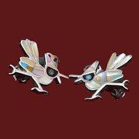 Sterling Inlay Bird Earrings