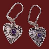 Sterling and Amethyst Heart Pierced Earrings